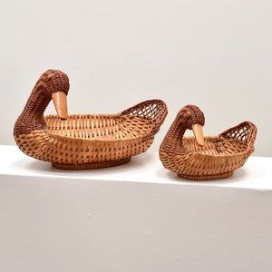 Vintage Boho Wicker Duck Baskets - Set of 2